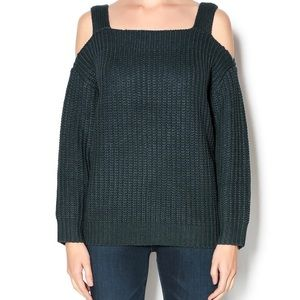 Honey Punch • Green Cold Shoulder Chunky Sweater S